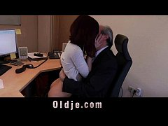 Cutie young secretary horny for boss old cock f...