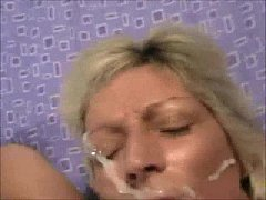 Older Broad Gets a Face Full of Cum