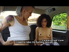 Lesbo babe take out panties from pussy in a cab