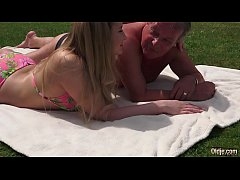 Sweet Young Blonde Fucked Old Guy in the park and teen cumshot rimming swallow