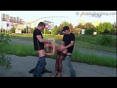 Street PUBLIC sex orgy with a beautiful blonde ...