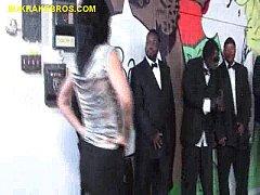 Brunette Deepthroating a Group of Black Men