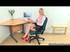 British milf Sofia masturbates at the office