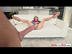Cute and naughty babe Skye stretch her tiny pus...