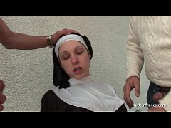 Young french nun fucked hard in threesome with ...