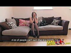 FakeAgentUK Promise of cash helps brunette take agents cock balls deep