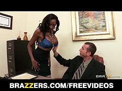 Ebony bra model Diamond Jackson shows her boss she can fuck