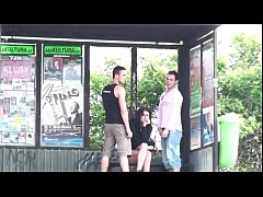 Extreme daring public street bus stop sex three...