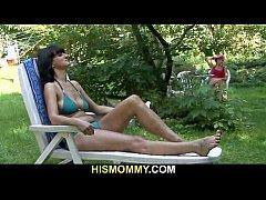 Busty lesbian mom seduces son's girlfriend
