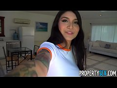 PropertySex -Hot Asian with big tits fucks her landlord to avoid eviction