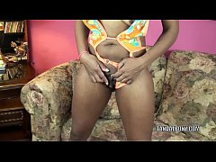Ebony MILF Kelly Stylz is playing with her swee...