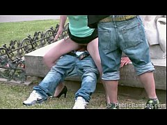 Public STREET gangbang threesome with a young p...