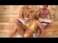 Cathy Heaven gets a Double Dick Down in the Sauna