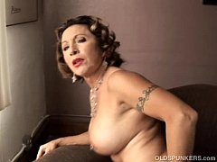 Tasty old spunker with a tight body plays with ...