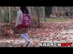 Schoolgirl ath the park. Voyeur in public.