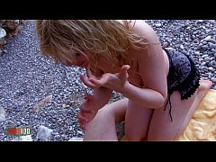 Chubby french blonde girl brutal fuck at the beach