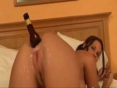 Girl anal masturbate with bottle and swatter - ...