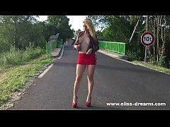 Flashing in public on the road wearing a slut s...