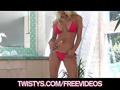 Busty blonde bikini babe plays with her new gla...