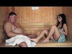 Old man fucks Bella Beretta in the sauna