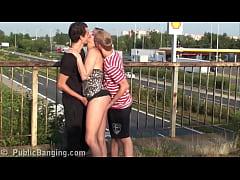Beautiful MILF public gangbanggroup threesome o...