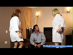 Milf masseuses banged by horny client