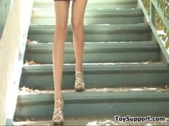 Skinny Girl Masturbates With A Toy Outside