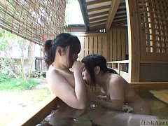 Subtitled Japanese lesbians foreplay in outdoor...