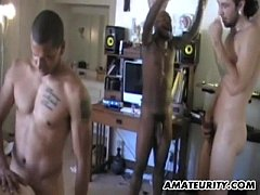 Amateur girlfriend interracial group sex with f...