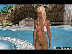 This sexy blonde 3D big tit babe is riding a cock