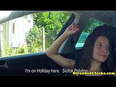 Hitchhiking teen flashing her tits