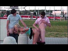 Sensacional PUBLIC group sex teen threesome org...