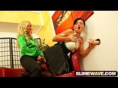 Perverted babes playing with strapons