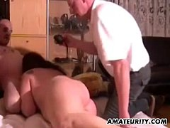 Chubby amateur Milf toys and sucks in front of ...