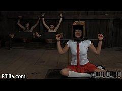 Harsh whipping for ravishing girl