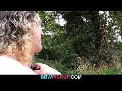 Curly BBW riding stranger's cock