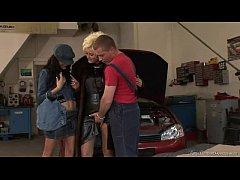 Threesome In The Car Garage