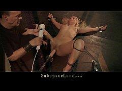 Slutty blonde trembles under sub punishment and...
