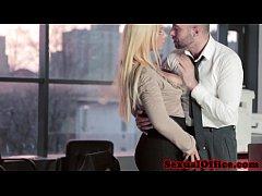 Busty european secretary shows her creampie