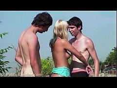 Young blonde teen hottie public gang bang orgy ...