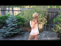 Sunny Lane Plays With Her Wet Pussy Outdoors!