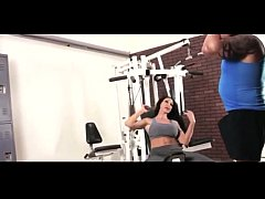 Sexy Hot Moms Workout Fitness at GYM with Hands...