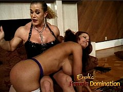 Milf with massive fake tits dominated by an ang...