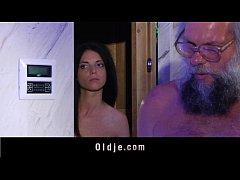 Oldman intercourse in bathroom with a teeny