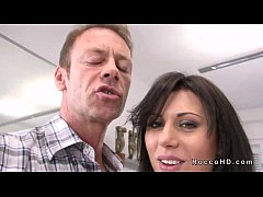 Hot brunette Scarlet A gets anal fucked from be...