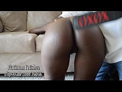 Ebony booty gets spanked