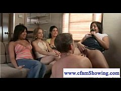 Cfnm host blows naked guy in front of audience