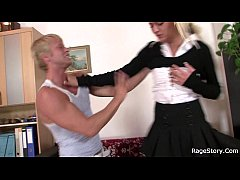 Office blonde in white stockings takes hard fuc...