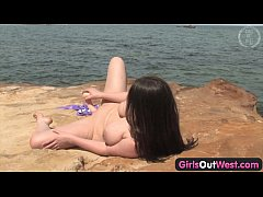 Girls Out West - Busty Aussie babe fucking a dildo by the sea