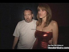 Mature Redhead Karen fucked by strangers in a porn theater